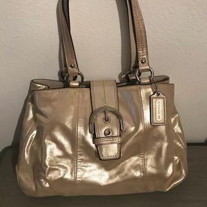 Coach gold shimmer purse